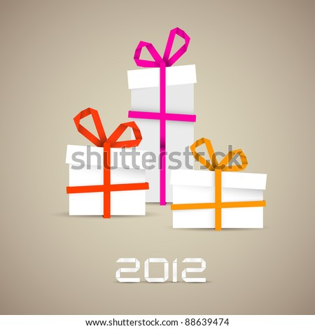 Simple vector christmas gift made from paper stripe - original new year card