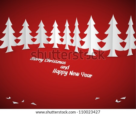 Simple vector christmas paper trees - original new year card