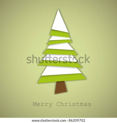 Simple vector christmas tree made from green and white pieces of paper - original new year card