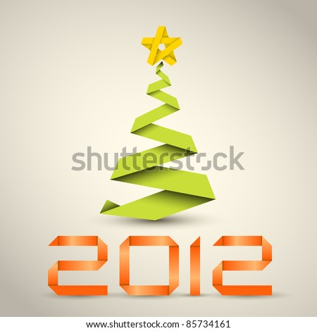 Simple vector christmas tree made from green paper stripe - original new year card