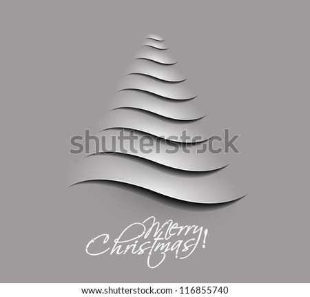 Simple vector christmas tree made from paper cut.