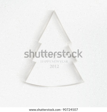 Simple vector christmas tree made from pieces of white paper - original new year card - stock vector