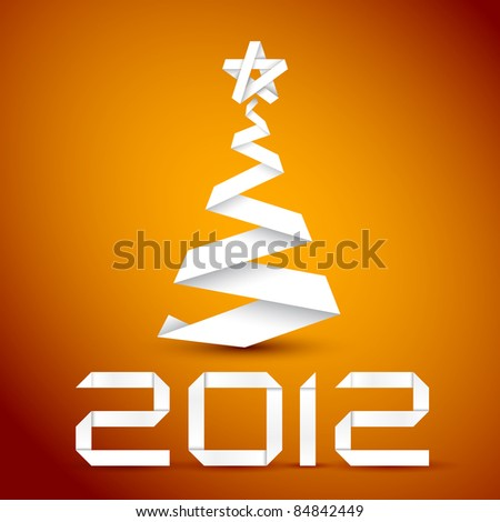 Simple vector christmas tree made from white paper stripe - original new year card - stock vector