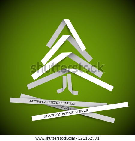 Simple vector christmas tree made from white paper stripes - original new year card