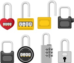 Simple Vector Design of Padlock in Red, Yellow, Black and Gray