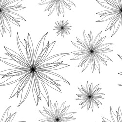 Simple, vector,  floral pattern. Abstract, stylized flowers on a white background. Minimalistic, seamless, contour  ornament.