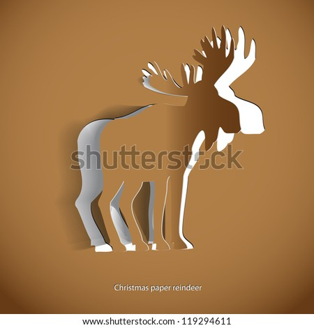 Simple vector Gold reindeer- original new year card