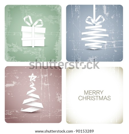 Simple vector grunge christmas decoration made from white paper stripe - original new year card