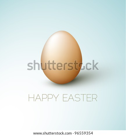 Simple vector Happy Easter card with brown egg on the blue background