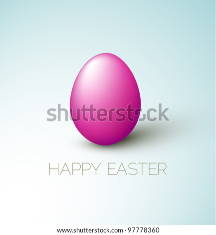 Simple vector Happy Easter card with purple egg on the blue background