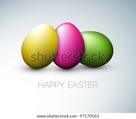 Simple vector Happy Easter card with three colorful eggs on the gray background