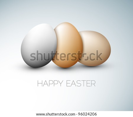 Simple vector Happy Easter card with three eggs on the gray background