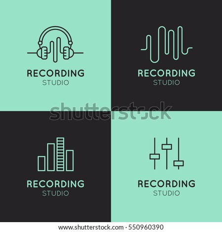 Simple Vector Icon Style Music Logo Set. Recording Studio Labels. Podcast and Radio Badge with Sample Text. Design with Waves, Headphones and Mixing console