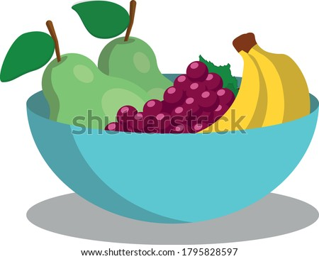 simple vector illustration of a blue bowl full of fruits (pear, grape, banana) on white background Stock photo ©
