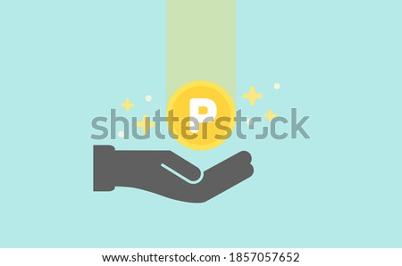 Simple Vector Illustration of a hand holding gold Point coin on isolated light blue background.  Earning points, Saving money, Accumulate, or Sales promotion concept. Foto stock ©