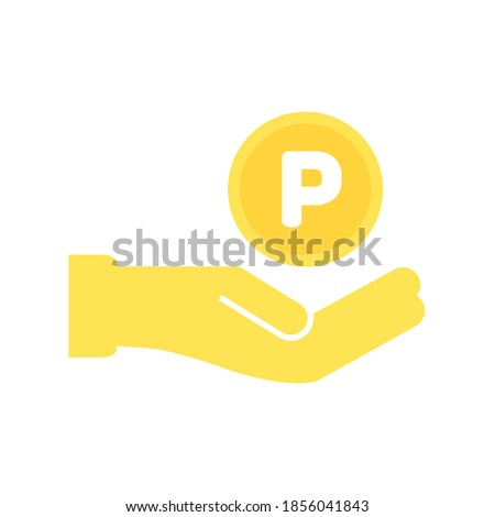 Simple Vector Illustration of a hand holding gold Point coin on isolated white background.  Earning points, Saving money, Accumulate, or Sales promotion concept. Foto stock ©