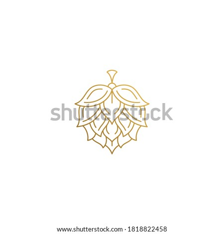 Simple vector illustration of outline graphic logo design template of natural hop flower for beer brewing hand drawn with golden lines Photo stock ©