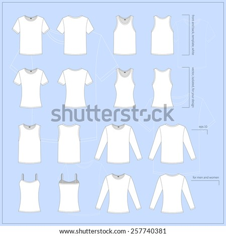 Vector blank tshirt template front and back download for Types of womens shirts