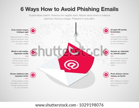 Simple Vector infographic for 6 ways how to avoid phishing emails template isolated on light background. Easy to use for your website or presentation. Stok fotoğraf ©
