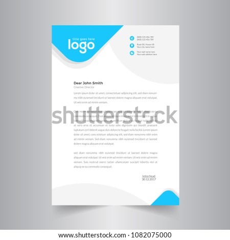 Simple Vector Letter Head Template with standard sizes.