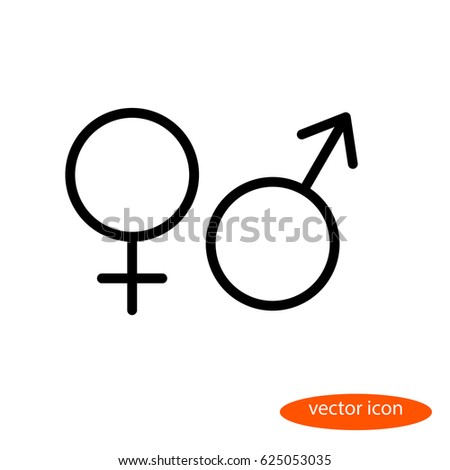 Simple vector linear image of the symbols of female and male organisms or planets Venus and Mars, line icon, flat style.
