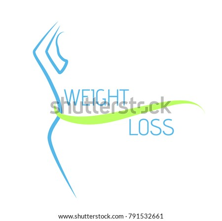 simple vector logo - weight loss, woman slim body, isolated on white background with green ribbon and blue text