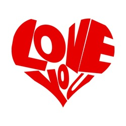 Simple vector Love you with white background and can be transparant.