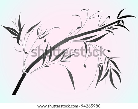 Simple vector of Bamboo in the Asian style drawn by ink.