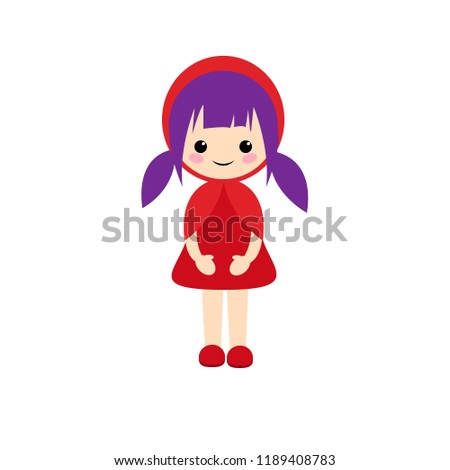 Stock Photo Simple vector of Little Red Riding Hood standing with her red dress and lilac hair with two pigtails.