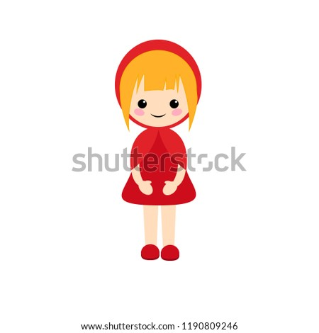 Stock Photo Simple vector of little red riding hood with blond short hair and a red dress and shoes.