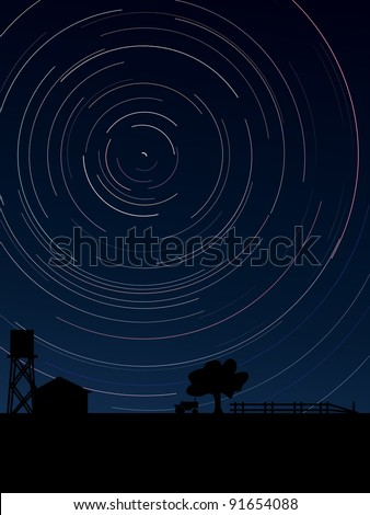 Simple vector of stars trace circles on the sky