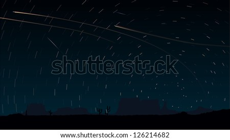 Simple vector of stars trace circles on the sky with aircraft lights (look like long exposure photography).