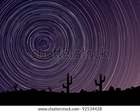 Simple vector of stars trace circles on the sky with light of daybreak(look like long exposure photography).