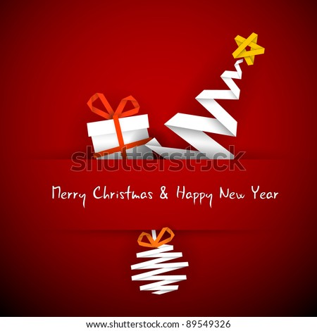 Simple vector red christmas card with gift, tree and bauble made from paper stripe