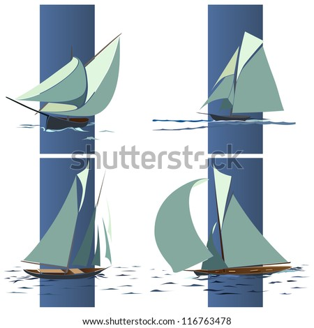 Simple vector set of ships with sails and waves elements in blue box.