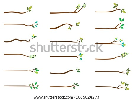 Simple vector tree branches with green leaves on white background for greeting cards and graphic design