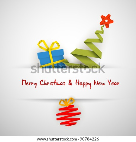 Simple vector white christmas card with gift, tree and bauble made from paper stripe