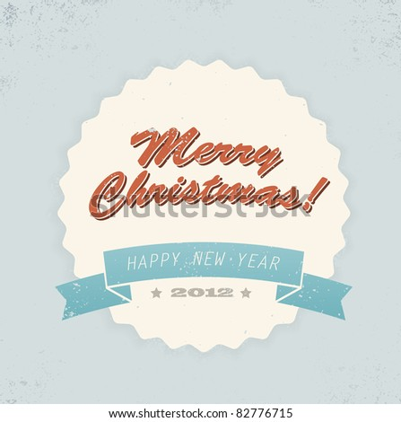 Simple vintage retro vector Christmas card (blue, red and yellow)