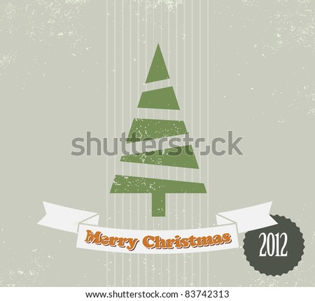 Simple vintage vector retro Christmas card with christmas tree