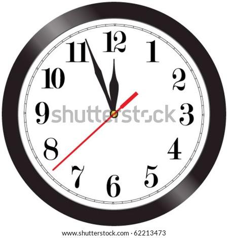 Simple wall clock illustration - almost midnight