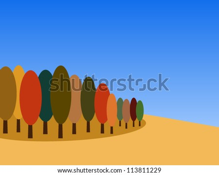 Simple warm autumn landscape with beautiful blue sky