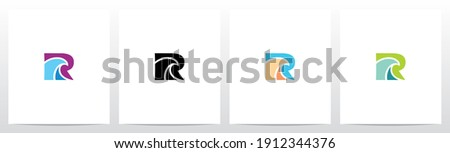 Simple Wave On Letter Logo Design R Photo stock ©
