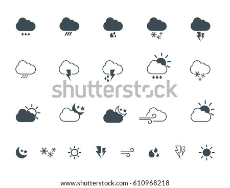 Simple weather vector icons, logos, design elements. Seasons signs and symbols of clouds, sun, rain, moon, wind, lightning, thunderstorms and snow.