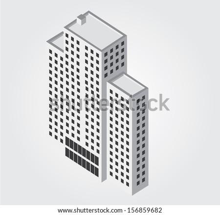 Simple web icon in vector: city building