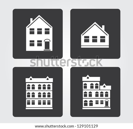 Simple web icons in vector: city building