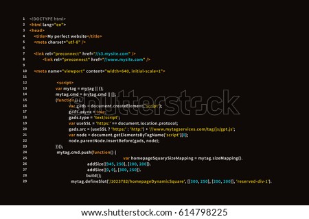 Simple website HTML code with colourful tags in browser view on dark background