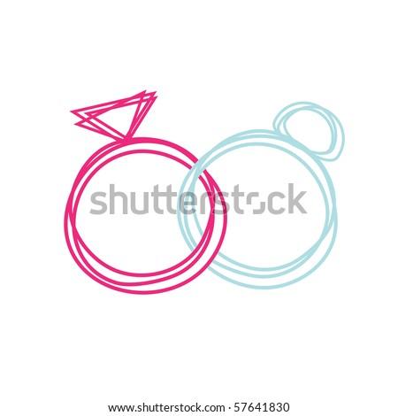Simple Wedding rings, vector.