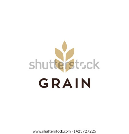 simple wheat / grain vector icon logo design