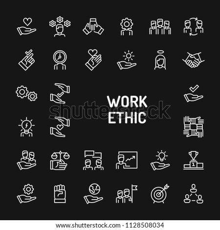 Simple white line icons isolated over black background related to work ethics; Teamwork, morality, proficiency, optimism and empathy. Vector signs and symbols collections for website and design.