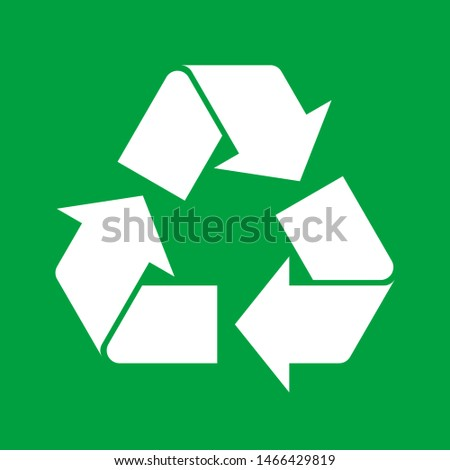 Simple white recycle symbol on green background. Sign or icon for recycling materials. Reusable materials concept. Recycle emblem symbolizing recyclable product. Vector illustration, flat, clip art.